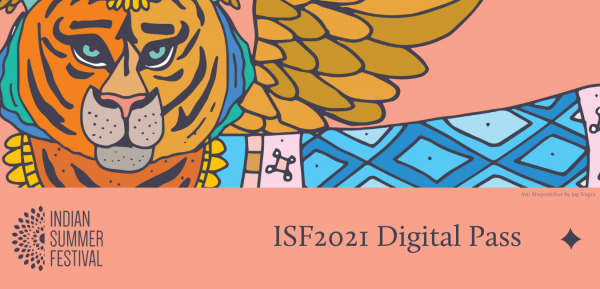 ISF2021 Digital Pass graphical repsentation featuring the artwork on a coral background