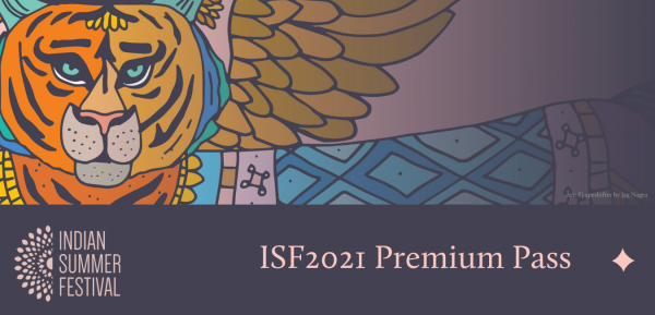 ISF2021 Premium Pass graphical repsentation featuring the artwork with purple overlay