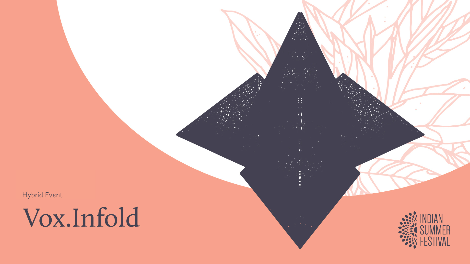 Hybrid Event logo. A geometric, abstract black and white pattern of triangular shapes sits off centre. Text reads: Hybrid Event. Vox.Infold.